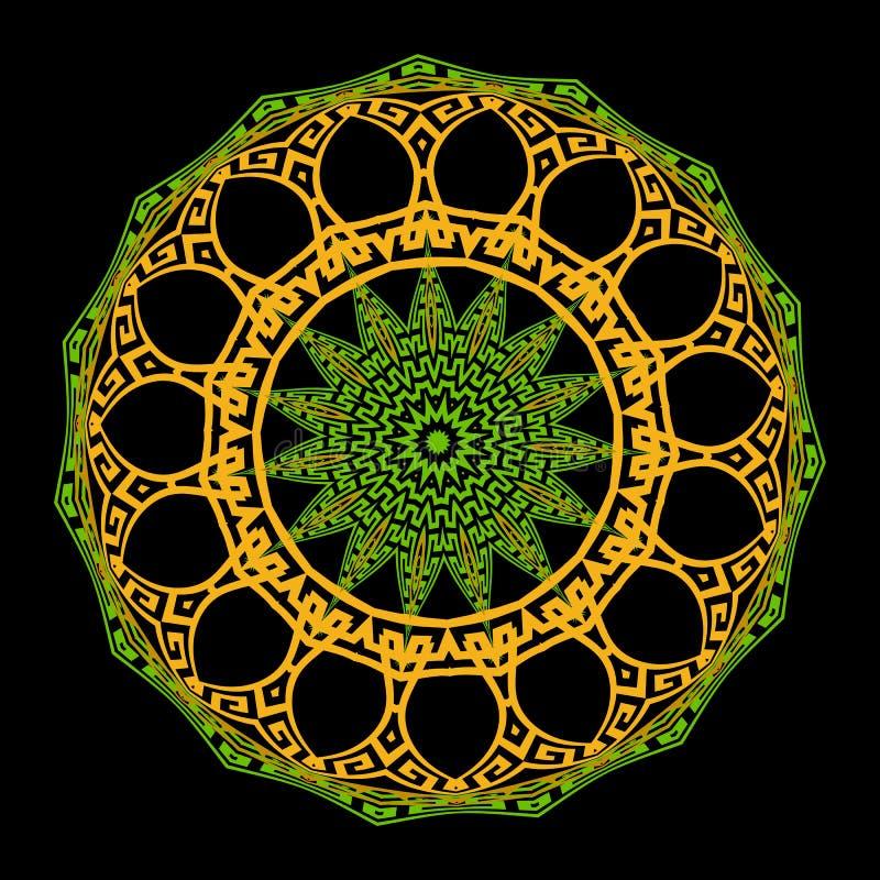 Grekisk dekorativ färgrik rund mandalamodell Etnisk stilbakgrund för vektor Den grekiska tangenten slingrar den forntida prydnade stock illustrationer