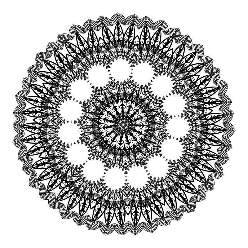 Grekisk etnisk rund mandalaprydnad Grekisk nyckel- slingringarmodell för vektor på den vita bakgrunden Stam- mandala med den mode royaltyfri illustrationer
