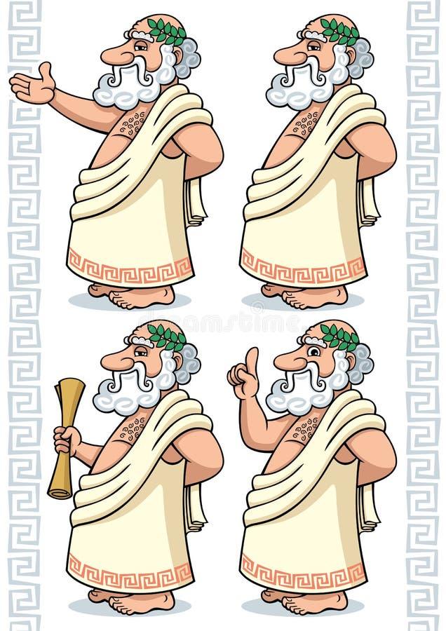 grekisk filosof stock illustrationer