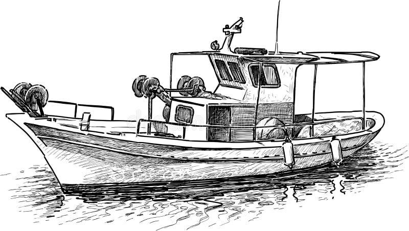 Grekisk fiskebåt royaltyfri illustrationer