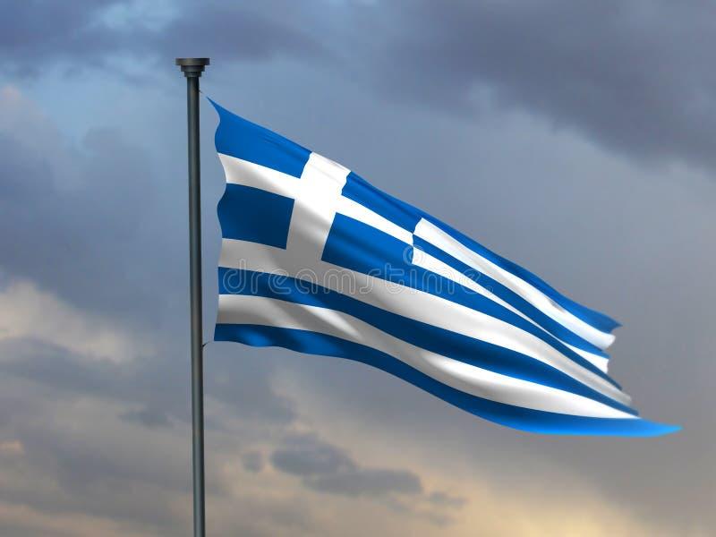 Grekisk flagga, tolkning för Grekland färger 3D stock illustrationer