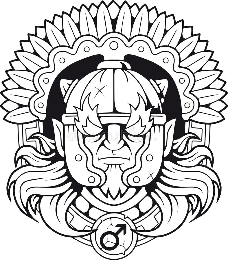 Grekisk gud av kriget Ares stock illustrationer