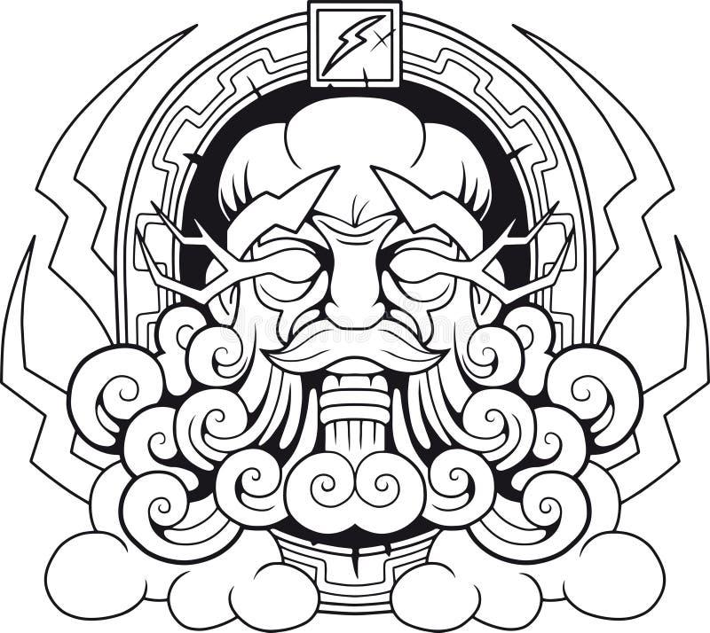 Grekisk gud Thunderer Zeus stock illustrationer