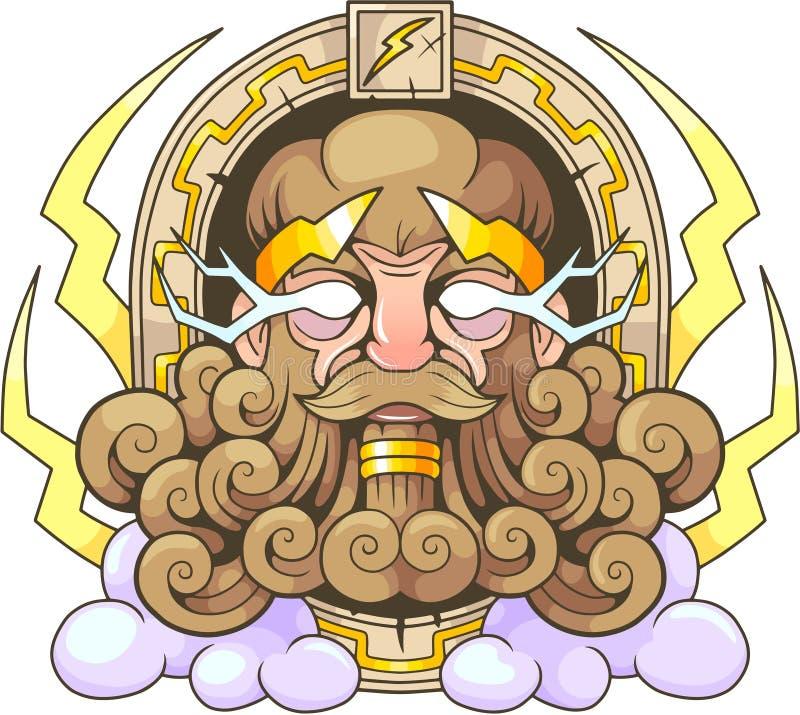 Grekisk gud Thunderer Zeus royaltyfri illustrationer