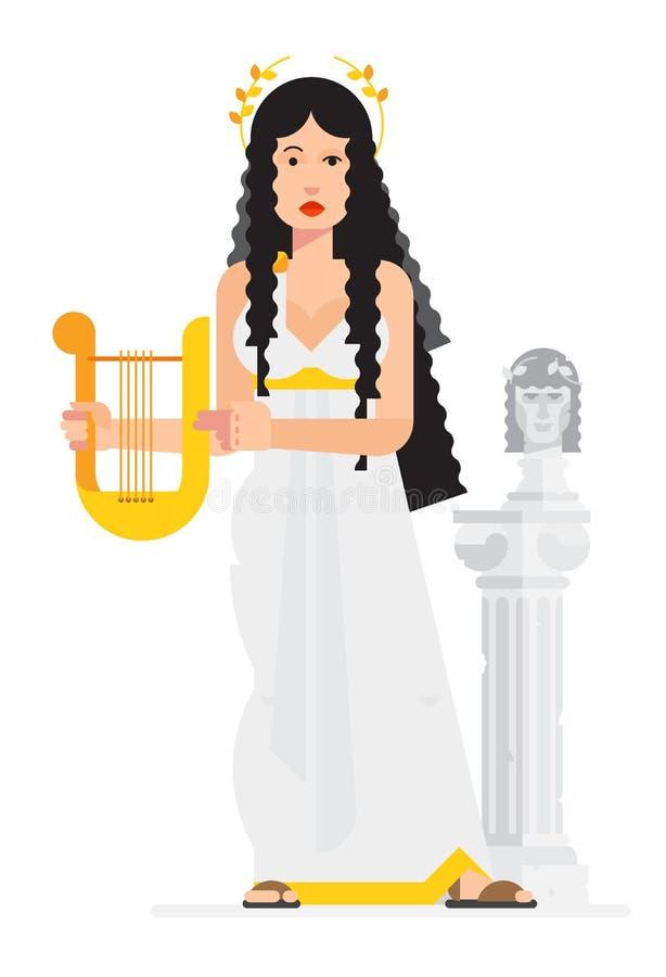 Grekisk gudinna i stilen av tecknade filmen för objektbana för bakgrund clipping isolerad white Bilden är klar för utskrift och p royaltyfri illustrationer