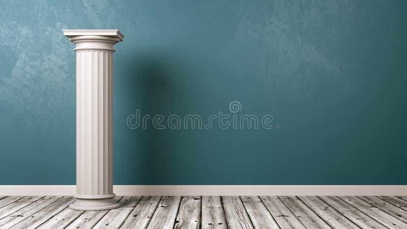 Grekisk kolonn i rummet stock illustrationer
