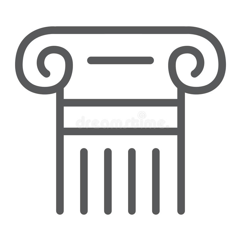 Grekisk kolonnlinje symbol, pelare och antikvitet, lagenlighettecken, vektordiagram, en linjär modell på en vit bakgrund vektor illustrationer