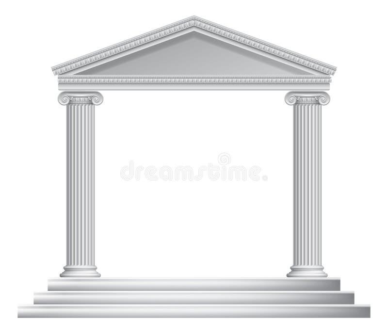 Grekisk kolonntempel stock illustrationer