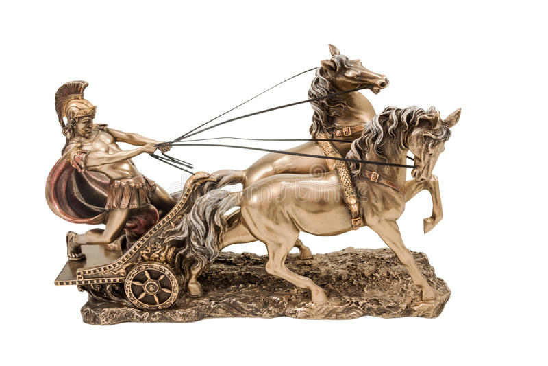Grekisk krigare på triumfvagnen arkivbild