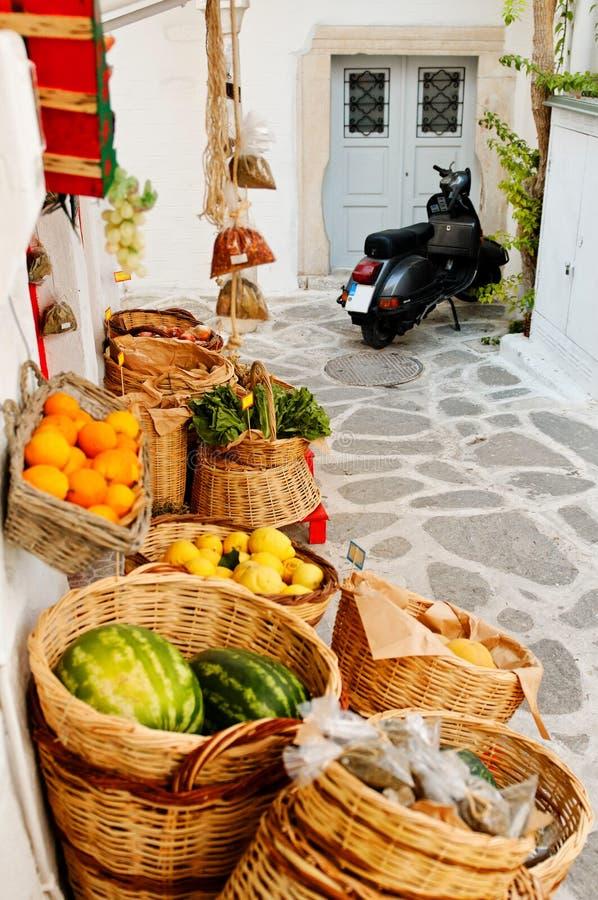 Grekisk livsmedelsbutik royaltyfria foton