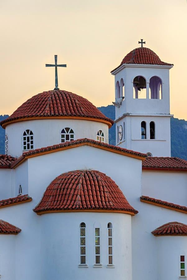 Grekisk ortodox kyrka i Platamonas, Grekland arkivbild