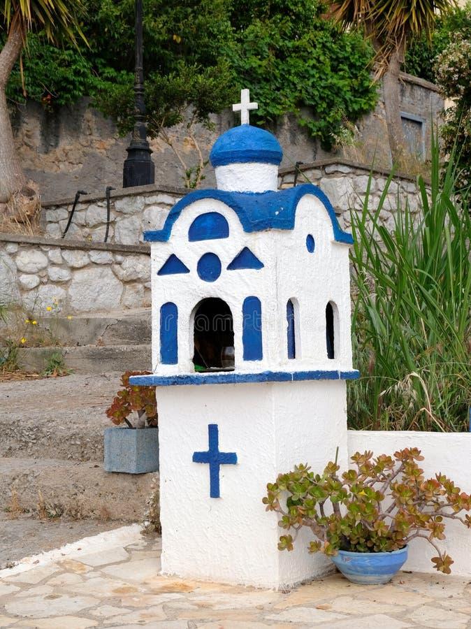 Grekisk ortodox relikskrin för litet hushåll, Grekland arkivbild