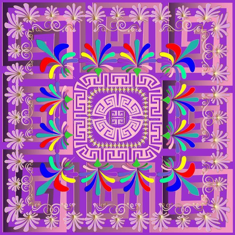 Grekisk panelmodell för färgrik vektor Geometrisk abstrakt backgrou royaltyfri illustrationer