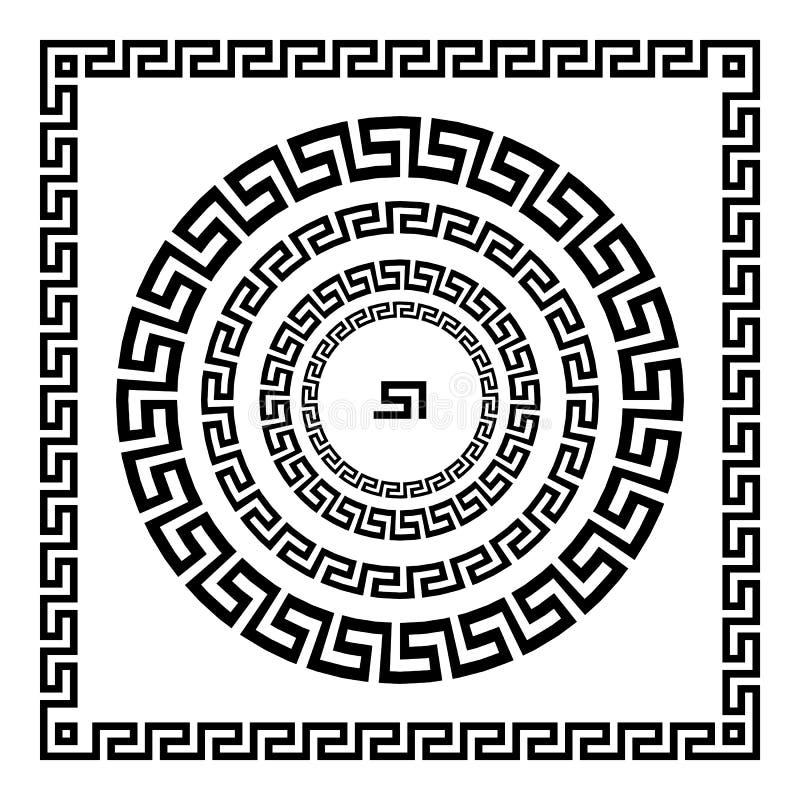 grekisk prydnad Cirkelprydnadslingringar Rund ram, rosett av forntida beståndsdelar Grekisk nationell antikvitetrundamodell, vekt vektor illustrationer
