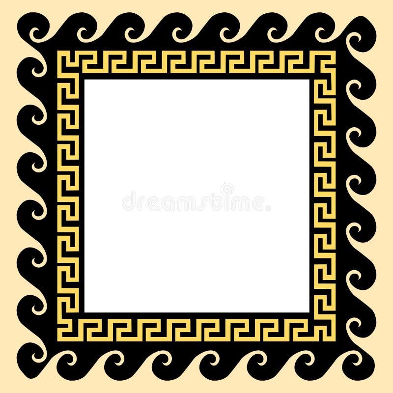 Grekisk prydnad i en fyrkantig ram också vektor för coreldrawillustration stock illustrationer