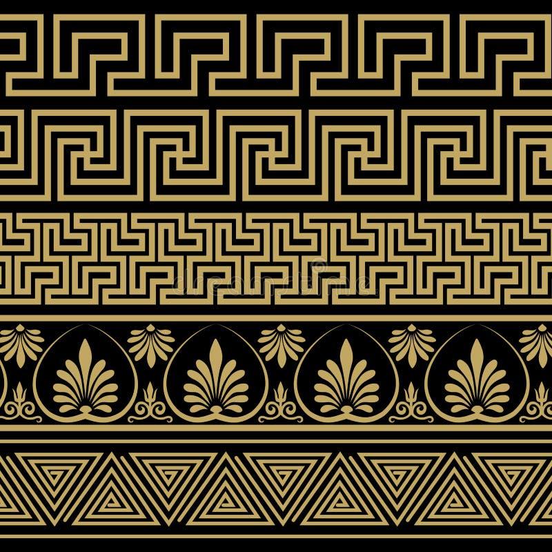 grekisk prydnad Modeller i antik stil vektor illustrationer
