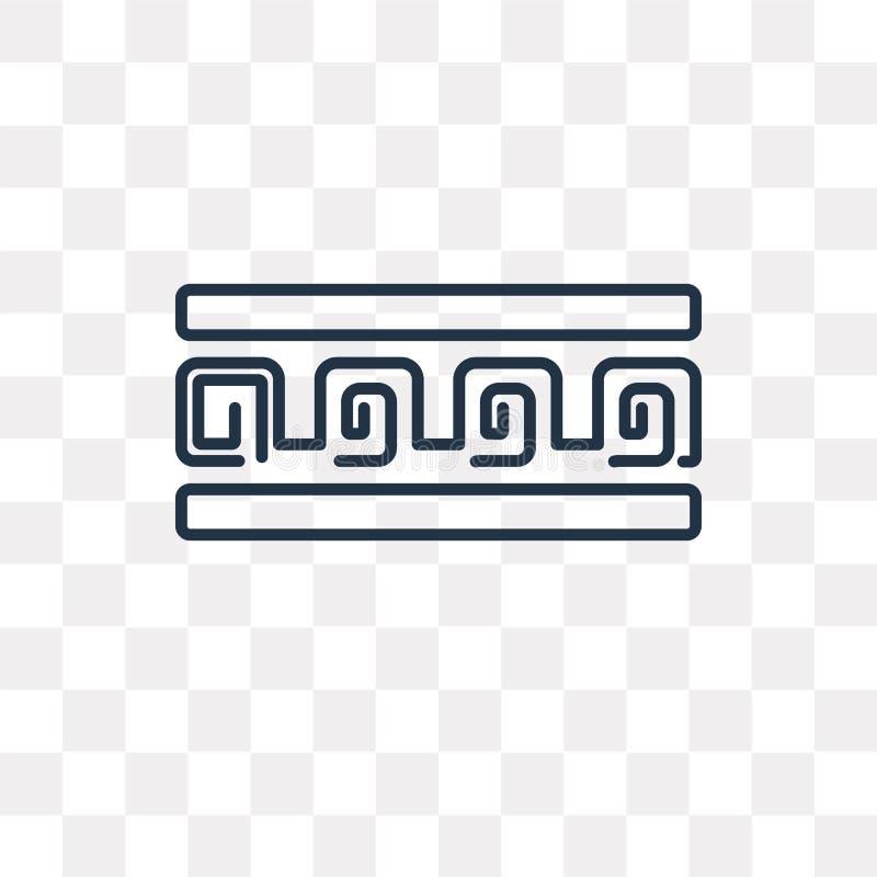 Grekisk prydnadvektorsymbol som isoleras på genomskinlig bakgrund, l vektor illustrationer