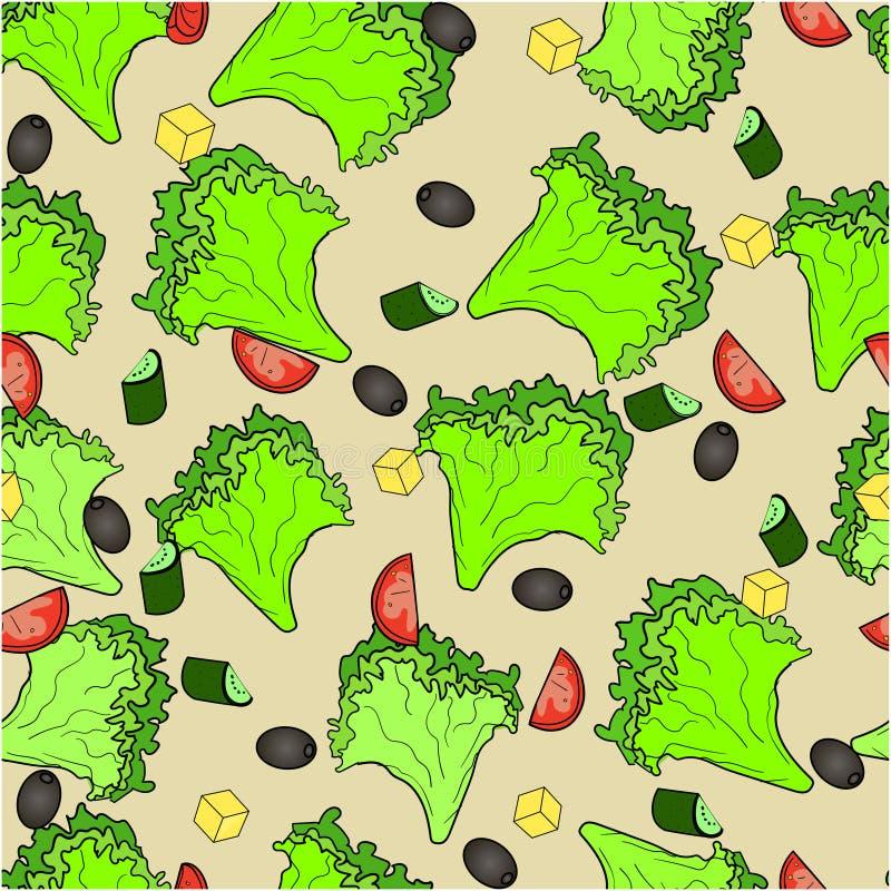 Grekisk sallad för sömlösa bakgrundsingredienser eller Horiatiki sallad Riktig näring Matvektor vektor illustrationer