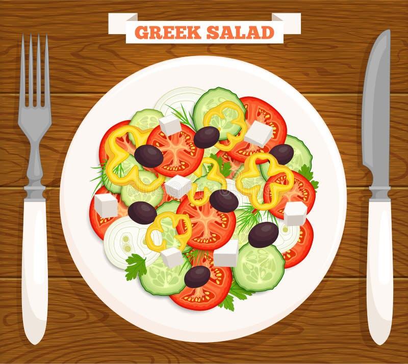 Grekisk sallad för vektor på en platta övre sikt royaltyfri illustrationer