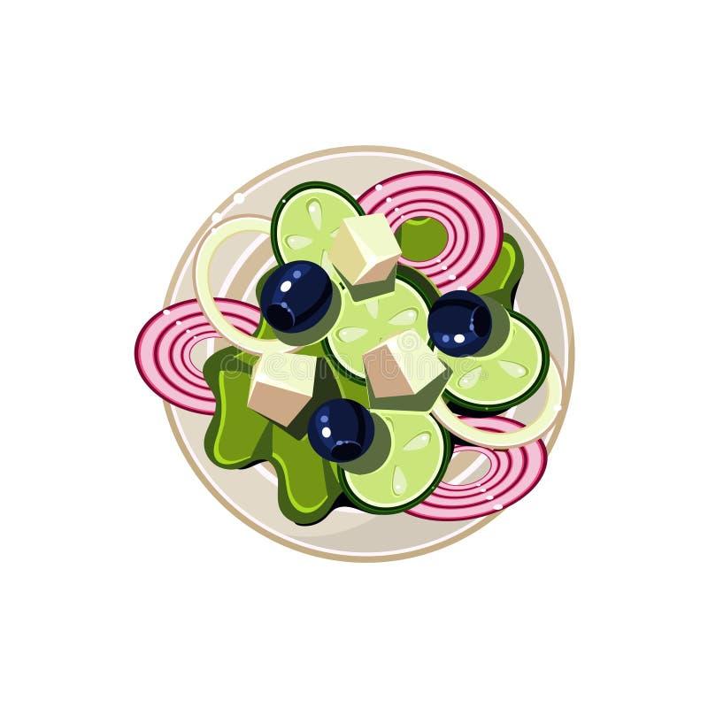 Grekisk sallad med grönsaker och keso vektor illustrationer