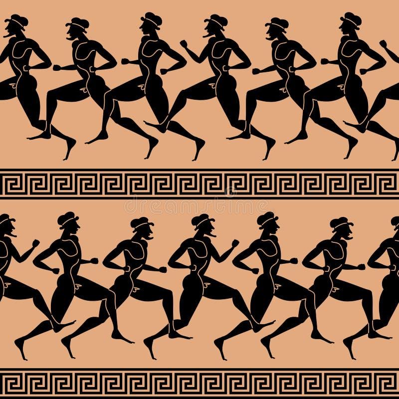 grekisk seamless vektorwallpaper för idrottsman nenar royaltyfri illustrationer