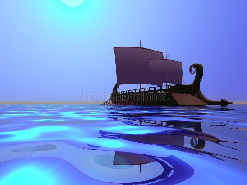 grekisk ship vektor illustrationer
