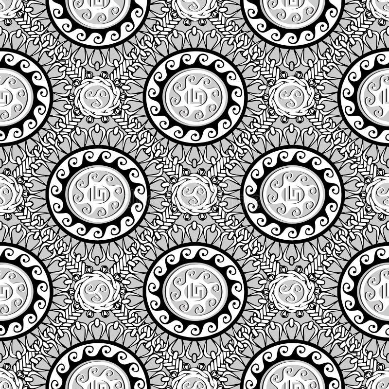 Grekisk svartvit geometrisk sömlös modell Vektor Monochr stock illustrationer