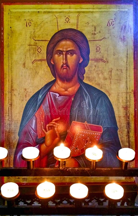 Grekisk symbolsklosterbroderkonst royaltyfri bild