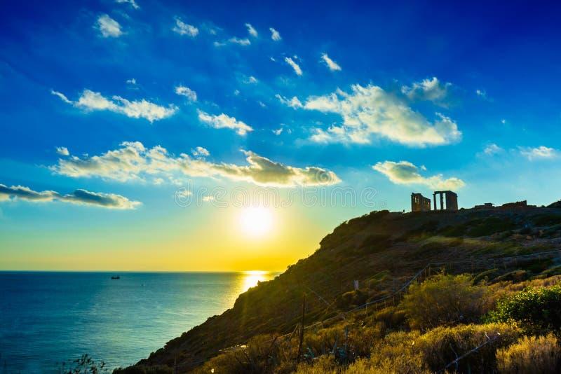 Grekisk tempel av Poseidon, udde Sounio royaltyfri fotografi