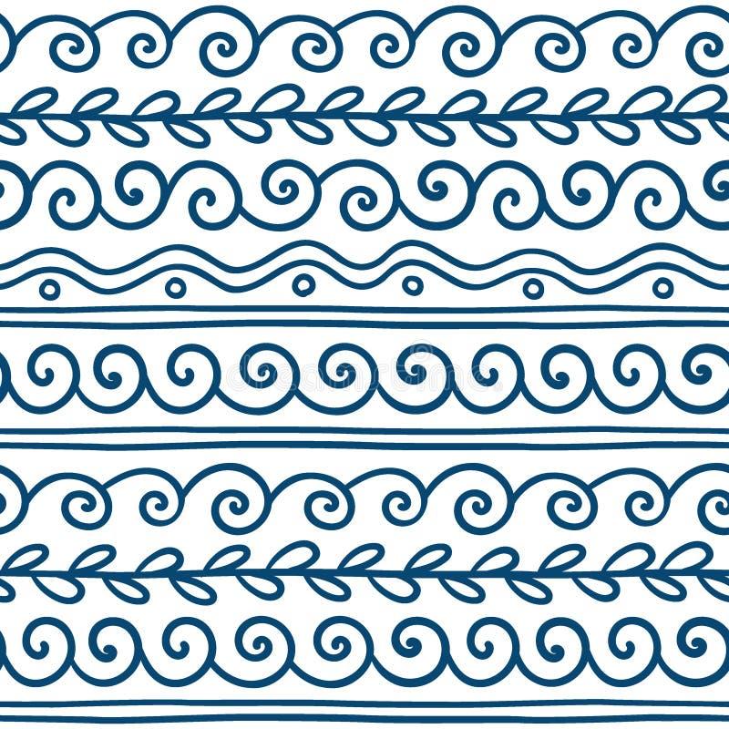 Grekisk våg för vektor och dekorativ beståndsdeluppsättning för slingringar royaltyfri illustrationer