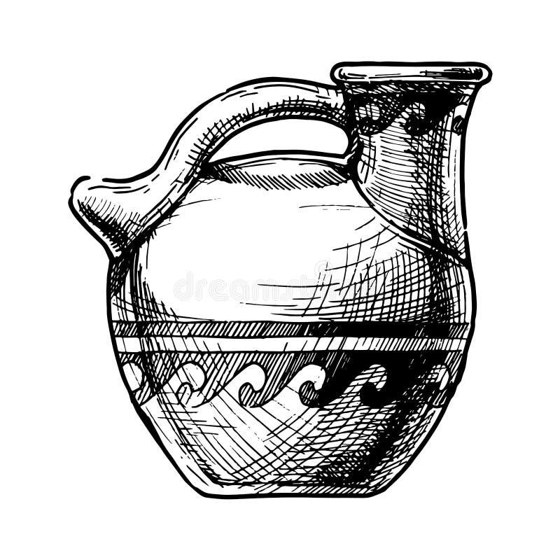 grekisk vase Askos vektor illustrationer
