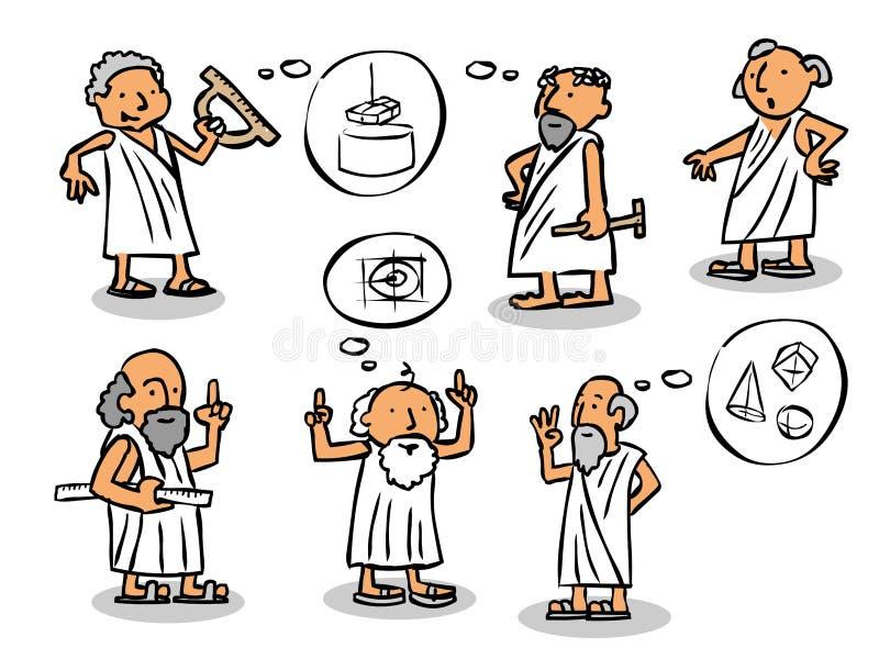Grekiska filosofer royaltyfri illustrationer