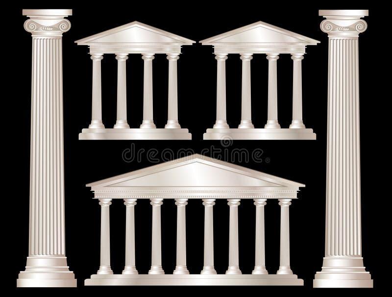grekiska kolonner royaltyfri illustrationer