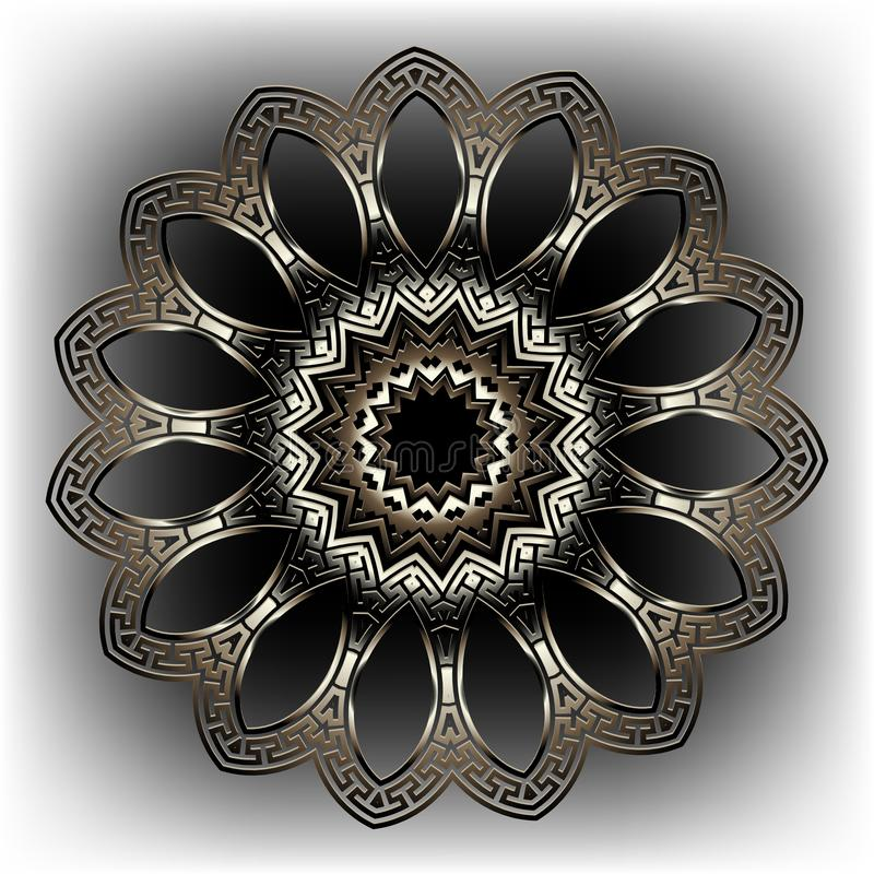 Grekiska nyckel- slingringar rundar den blom- modellen f?r mandalaen 3d Dekorativ grecian stilbakgrund Modern geometrisk abstrakt royaltyfri illustrationer