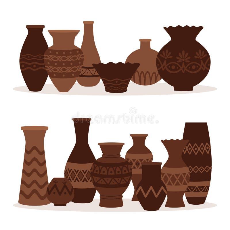 grekiska vases Forntida dekorativa krukor som isoleras på vit bakgrund vektor illustrationer