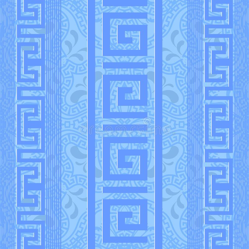 Grekiskt dekorativt ljus - sömlös modell för blå vektor Abstrakt ge vektor illustrationer