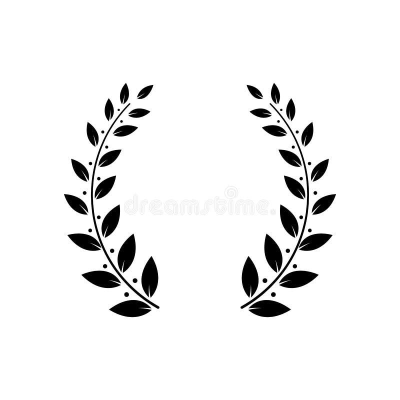 Grekiskt lager eller olivgrön vektor för ram för för vinnareutmärkelsekrans som eller blad isoleras på vit stock illustrationer