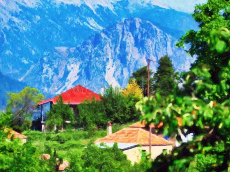 Grekiskt landskap för bergby, stil för oljamålning royaltyfria foton