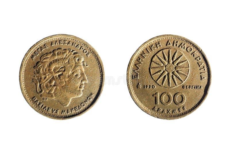 Grekiskt mynt av hundra drakmor arkivfoto