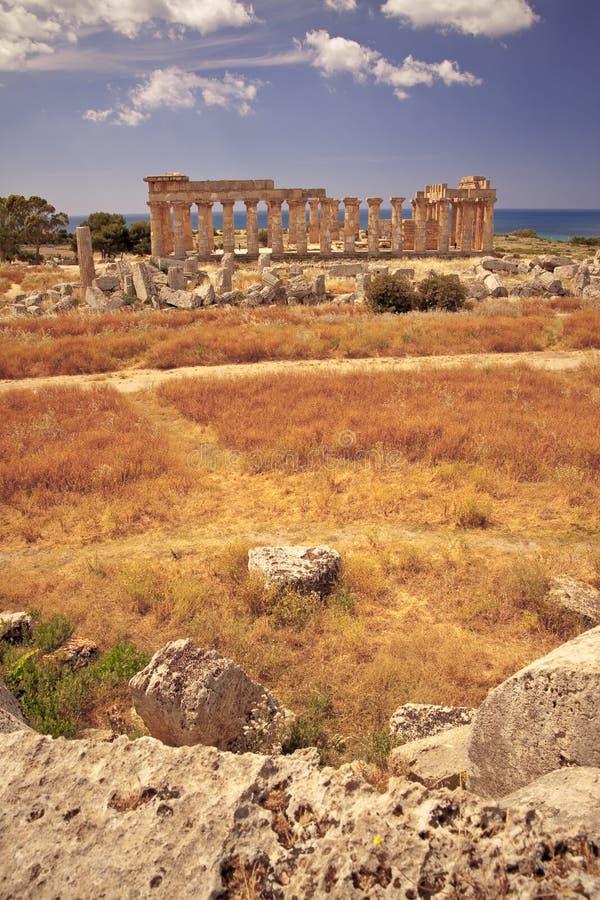 grekiskt selinuntetempel fotografering för bildbyråer