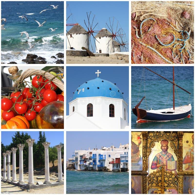 Grekland gränsmärkecollage arkivbilder