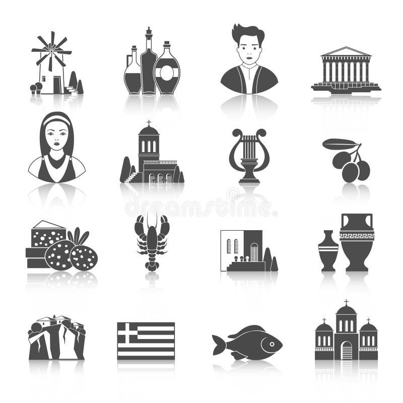 Grekland gränsmärken och monokromma symboler för kulturella särdrag planlägger s vektor illustrationer
