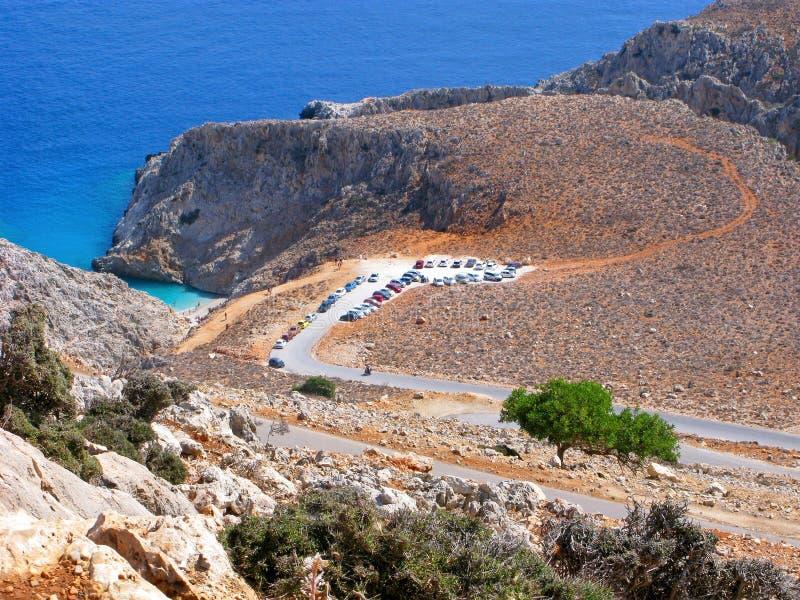 Grekland Kreta, bästa sikt av den Seitan Limania stranden royaltyfri foto