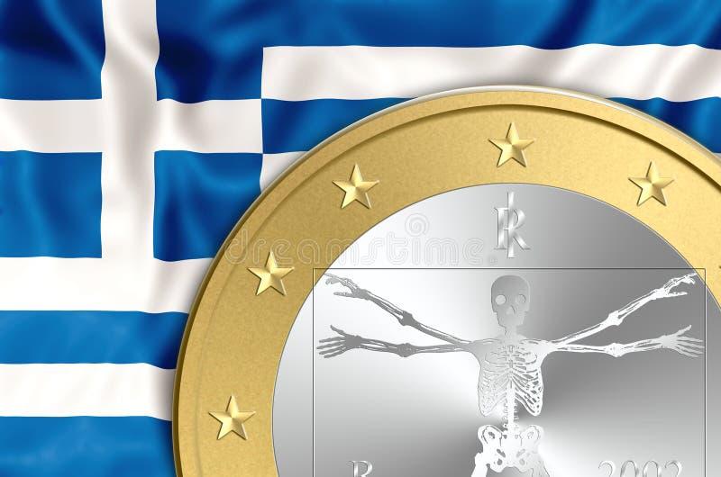 Grekland och eurodöd royaltyfri illustrationer