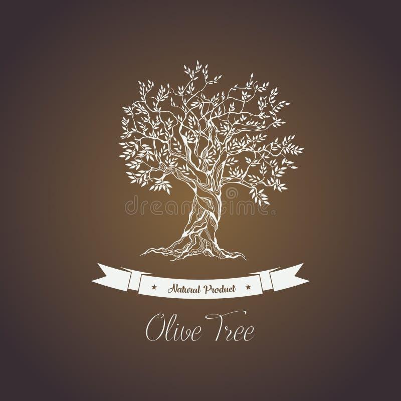 Grekland olivträdlogo med filialer royaltyfri illustrationer