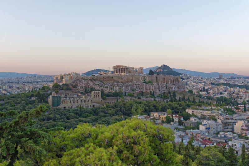 Grekland Parthenon p? akropol- och Lycabetus kullepanoramautsikt royaltyfri foto