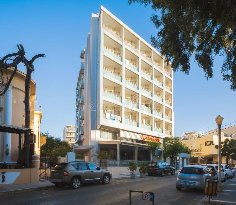 Grekland Rhodes - Juli 13: Hotell Aquamare på Juli 13, 2014 i Rhodes, Grekland royaltyfri foto