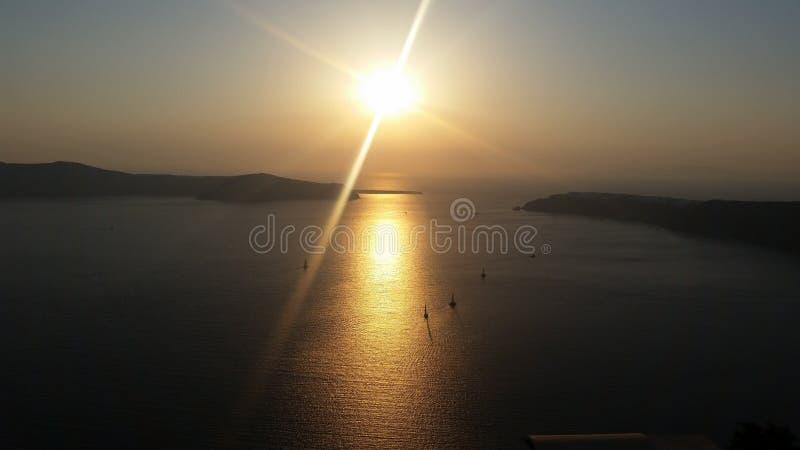 Grekland Santorini, Imerovigli, solnedgång, sikt arkivbild