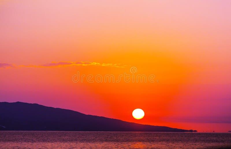 Grekland solnedgång arkivbilder