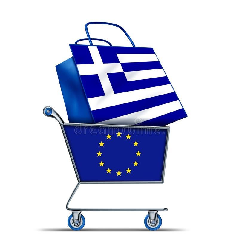 Grekland som är till salu med Europa som köper grekisk skuld royaltyfri illustrationer